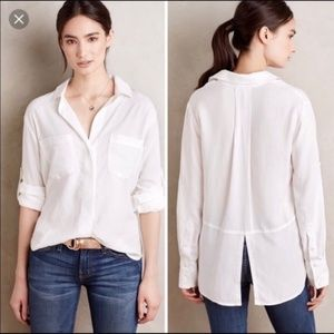 Cloth & Stone | White Split Back Button Down Top